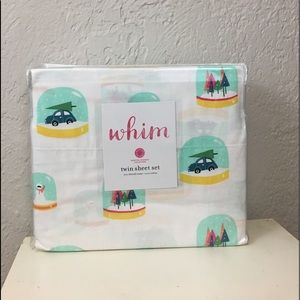 Martha Stewart twin sheet set whim snow globes new